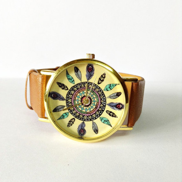 jewels watch watch jewelry fashion style accessories leather watch vintage style dreamcatcher where to get this watch??