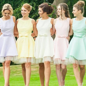 dress prom prom dress pastel pastel pink pink mint yellow white pastel dress trendy sparkle shiny bridesmaid shorty short mini mini dress fashion style stylish girly