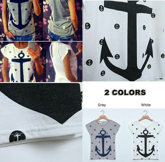 blouse anchor anchor pattern grey shirt t-shirt dressy casual shirt nautical blue and grey drop the anchor tee