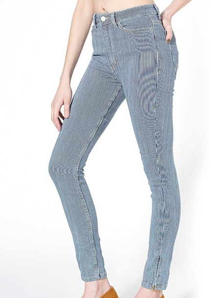 Jeans: vintage, blue & white, striped pants, high waisted, skinny ...