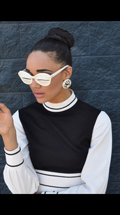 shirt,turtleneck,sweater,black and white,tumblr,chic,vintage,sunglasses