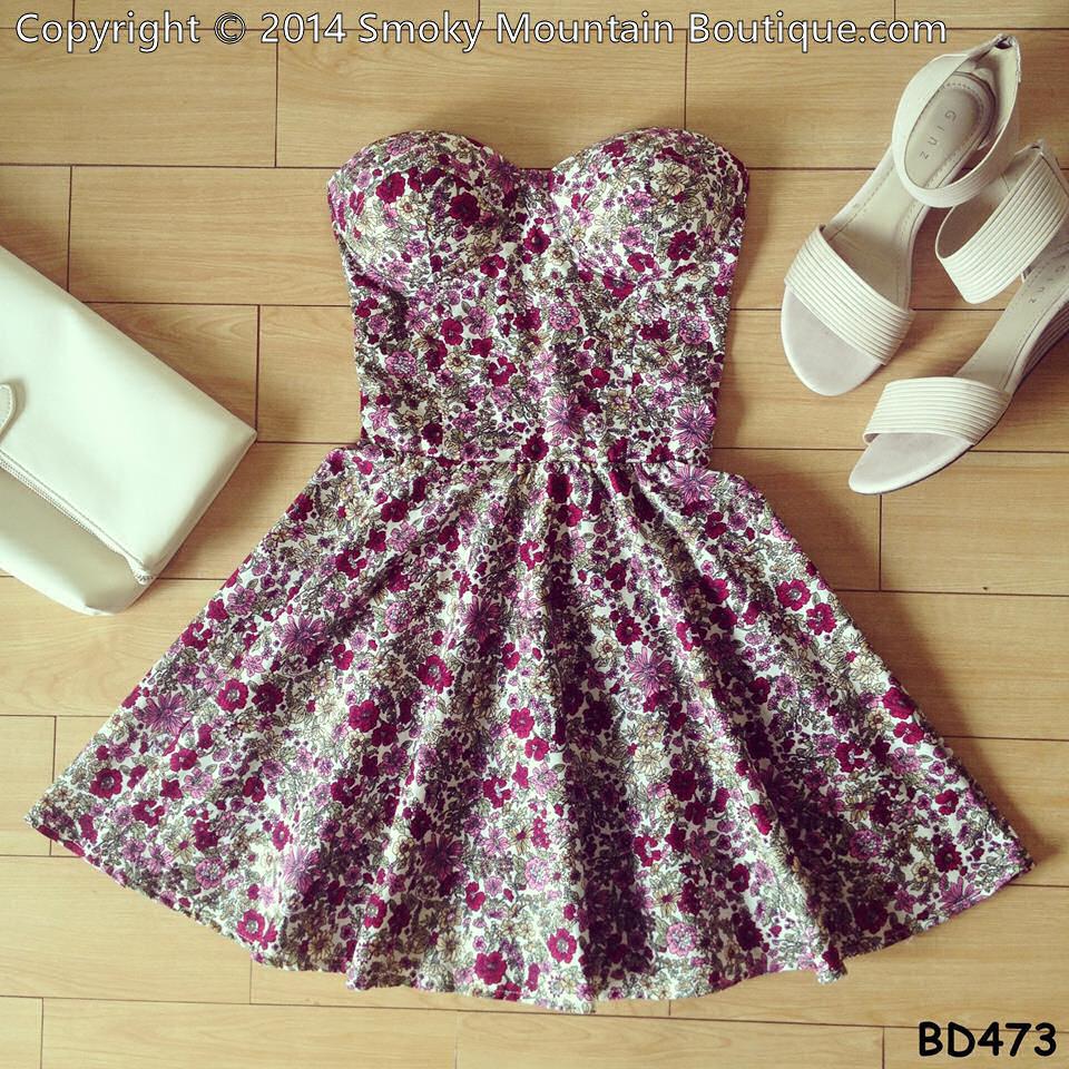 Lavene floral vintage bustier dress with adjustable straps
