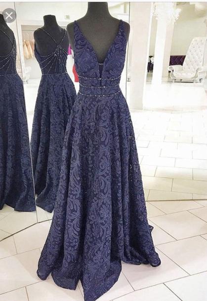 dress navy prom dress lace dress a line dress sequins long dress a line prom gowns v neck dress lace prom dress floor length dress graduation dress
