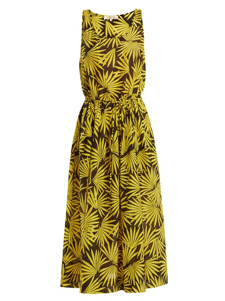 Diane Von Furstenberg dress midi dress midi floral cotton print yellow