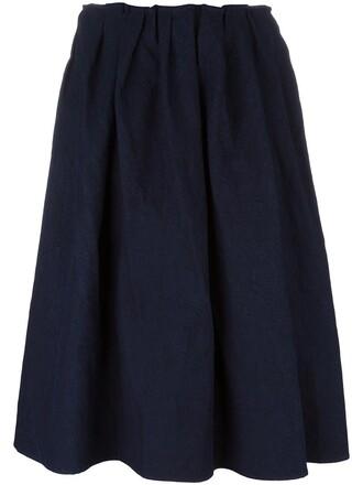 skirt women midi cotton blue