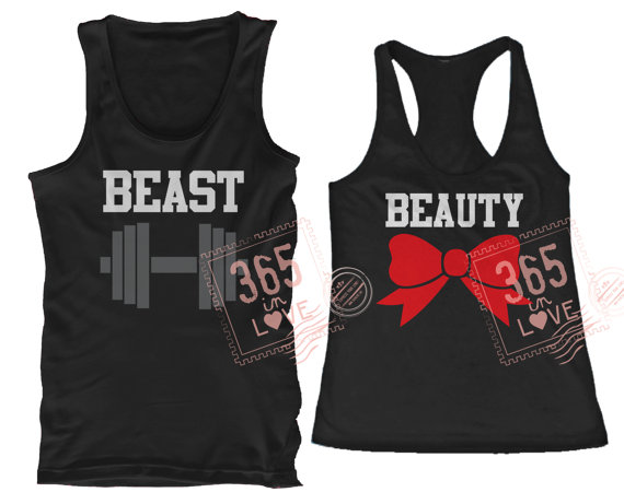 Cute matching beauty and beast couples matching by 365inlovedotcom
