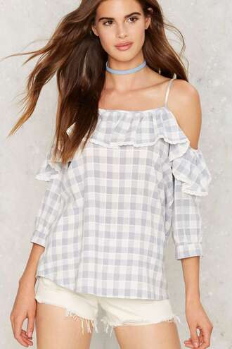 top off the shoulder gingham nastygal