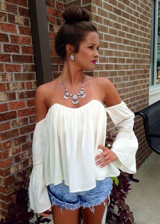 blouse boho long sleeves sweetheart neckline off-shoulder off the shoulder