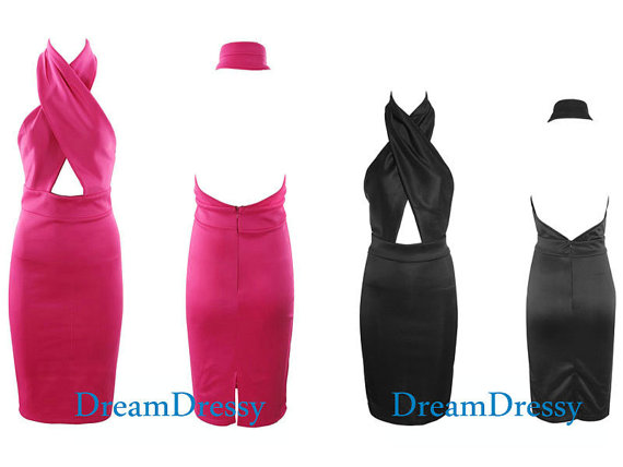 Sexy cross halter dress sheath short open back by dreamdressy