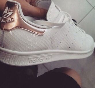 shoes adidas stansmith rose gold snake skin metallic rose