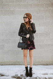 twenties girl style,blogger,dress,jacket,shoes,bag,sunglasses,jewels,black leather jacket,mini dress,shoulder bag,ankle boots,biker jacket,nordstrom,black booties,rebecca minkoff,winter outfits,slip dress,nightwear