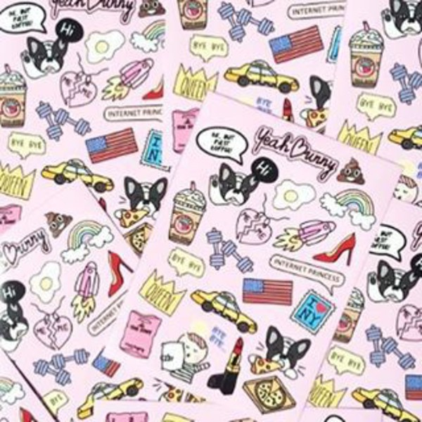 home accessory yeah bunny stickers iphone stickers macbook stickers pink dog frenchie