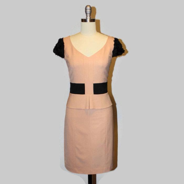 Belle beige & black sheath dress, color block career pencil dress with tulle lace rose applique cap sleeves, shift dress
