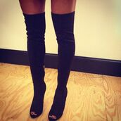 shoes,over the knee boots,open toes,high knee boots,high knee black boots,over the knee,suede boots