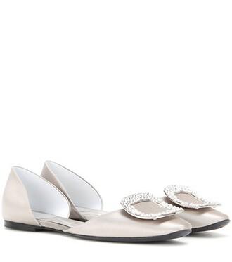 embellished satin grey shoes