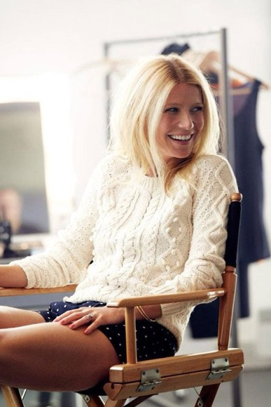 gwyneth paltrow sweater white cream sweater chic lovely simple classy shorts