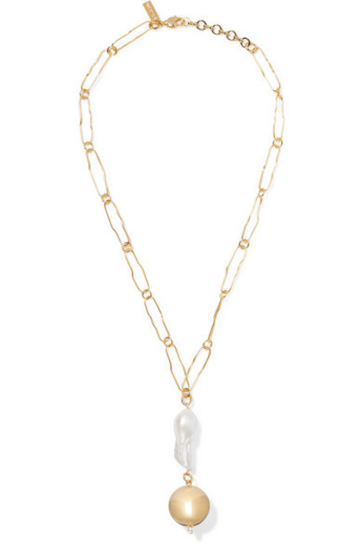 Mounser - Pagoda Gold-plated Pearl Necklace
