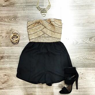 romper heels black heels jewelry romer dress alx boutique skrit necklace boutique