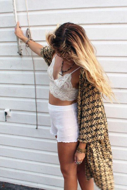 shirt white bralette lace crop tops top