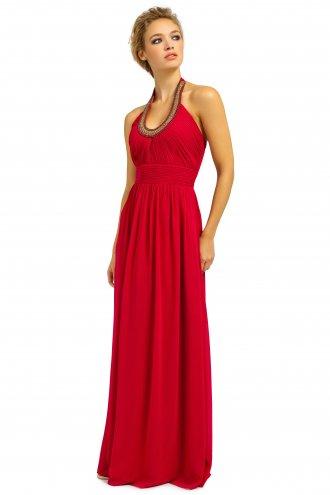 Berry Embellished Halterneck Chiffon Maxi Dress