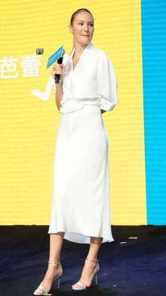 dress jacket candice swanepoel midi dress all white everything sandals spring outfits