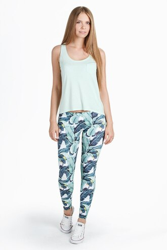 leggings printed leggings floral floral leggings leaves green leggings tank top blouse banana leaves leggings