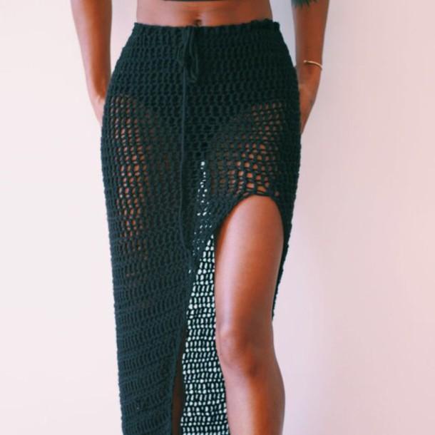 Skirt Knit Crochet Boho Bohemian Slit Cover Up Crochet Skirt