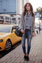 the bow-tie,coat,blouse,jeans,bag