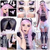 shorts,pastel,pastel goth,pink,black,shoes,bag,jewels,hat,shirt,dress,pastel goth kawaii,tights,skeleton,skeleton tights,black shirt,platform shoes,pink hair,ouija board shirt