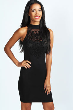 Esme Flock Front Detail High Neck Bodycon Dress at boohoo.com