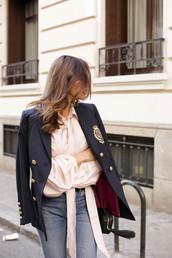 jacket,tumblr,blue blazer,blazer,military style,shirt,pink shirt,silk,denim,jeans,blue jeans,work outfits