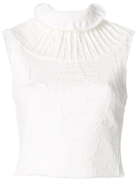 MATICEVSKI blouse pleated women spandex white top