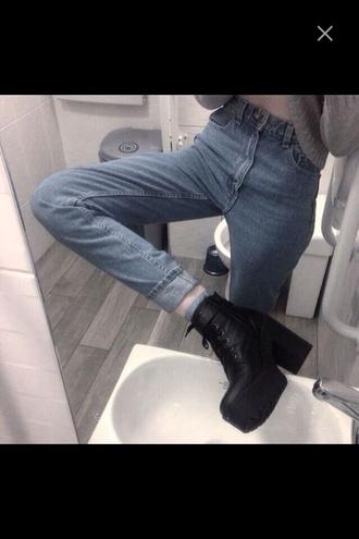 shoes black shoes big heel pants high waisted jeans jeans tumblr outfit black platform heels grunge platform boots high heels boots black boots waist 23 mom jeans