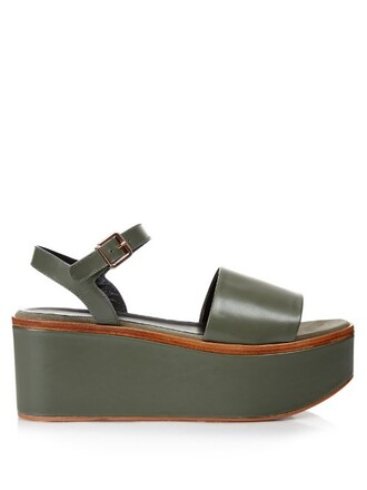 sandals flatform sandals leather khaki shoes