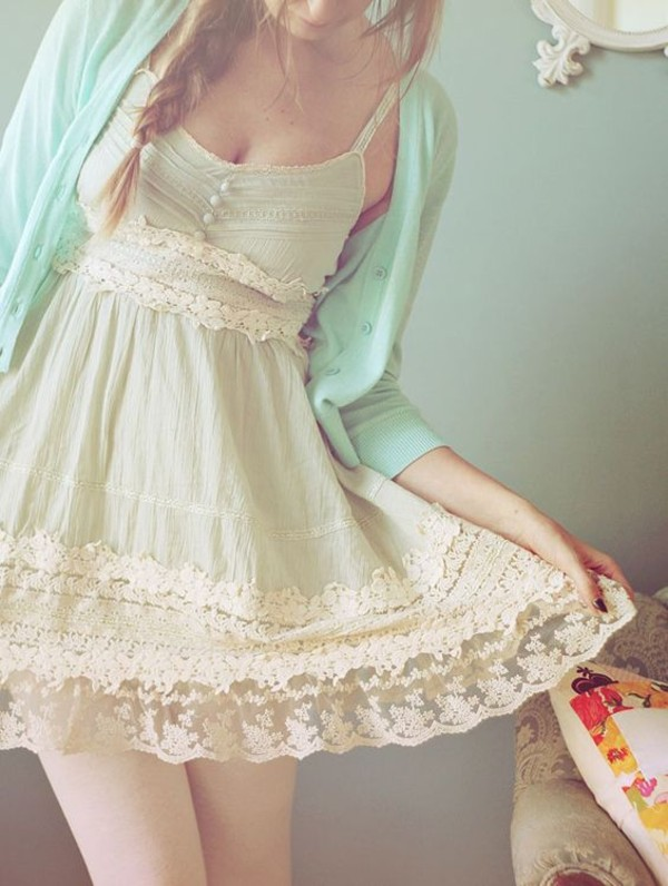 dress lace lace dress clothes white dress white flowy girly boho cardigan sweater