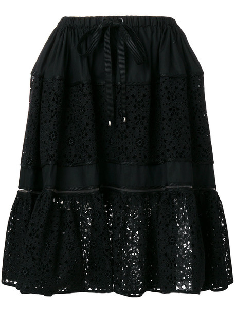Fendi - flora cut out skirt - women - Cotton/Polyamide/Polyester/Viscose - 38, Black, Cotton/Polyamide/Polyester/Viscose