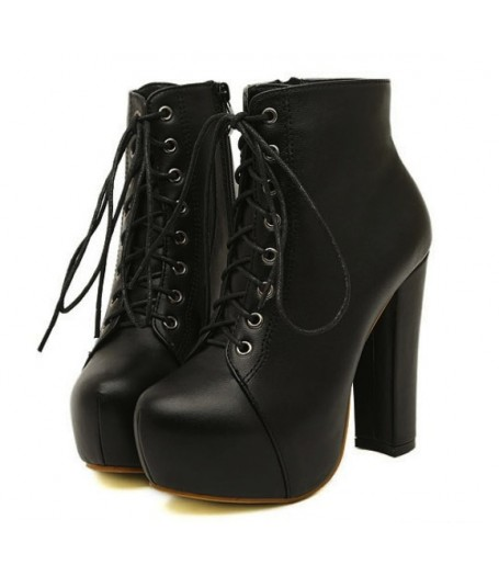 Black leather platform lace