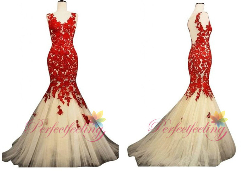 2014 red prom dresses full length mermaid/trumpet applique lace dress part dress for wedding dresses evening custom plus size b6
