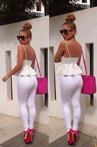 top white peplum croptop skinny jeans
