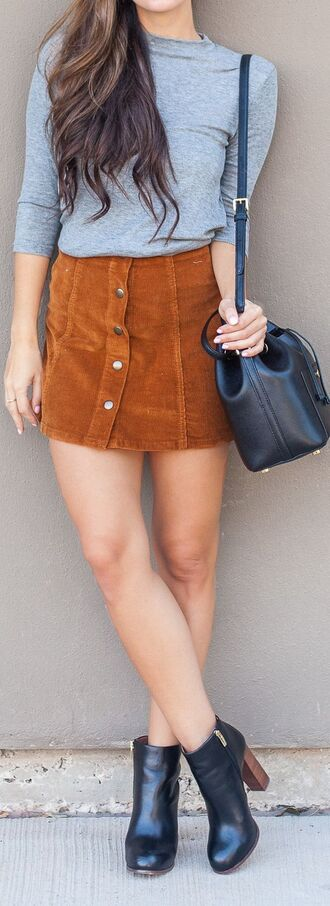 skirt brown suede leather black boots bucket bag grey minimalist heels summer outfit style street long sleeves streetstyle