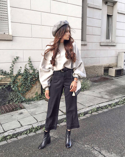 sweater tumblr white sweater oversized oversized sweater pants black pants culottes cropped pants beret boots black boots ankle boots