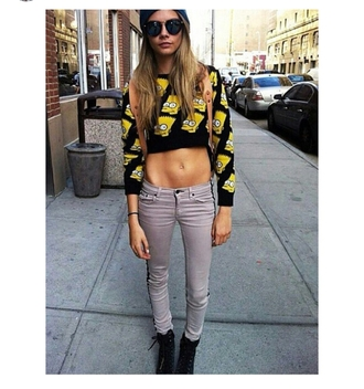 jeans celebrity style cara delevingne model skinny jeans gray casual sunglasses