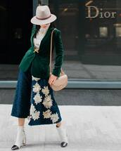 pants,velvet blazer,top,tumblr,culottes,blue culottes,cropped pants,palazzo pants,floral pants,floral,blue pants,hat,felt hat,blazer,velvet,white lace top,lace top,white top,bag,nude bag,boots,white boots,ankle boots,high heels boots,necklace