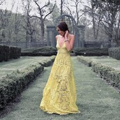 dress,tumblr,yellow,yellow dress,maxi dress,long dress,lace dress,necklace,prom dress,a line prom gowns