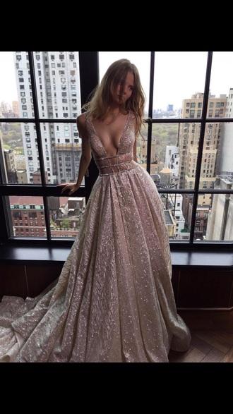 dress champagne model long prom shimmer