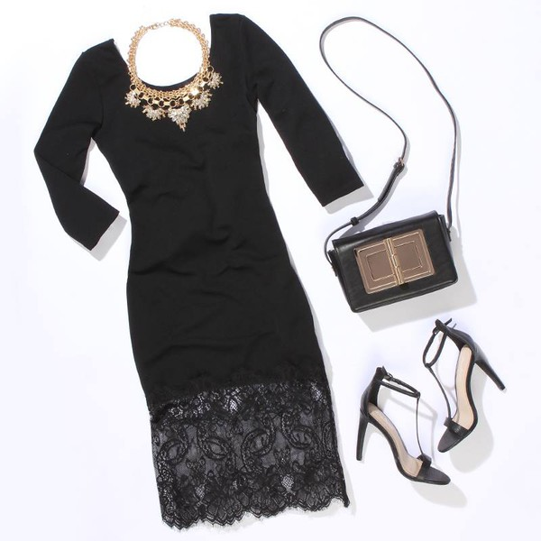 dress black dress lace dress outfit bag shoes necklace mac cosmetics dress classy jewels