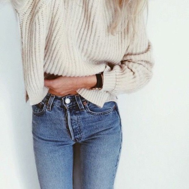 jeans high waisted high waisted jeans sweater knitwear white pants tumblr crop cropped white knit sweater crop knit sweater winter sweater wool blue jeans knit knit weater brown cozy oversized sweater cream watch vintage loose top clothes girl style fashion white sweater big sweaters outfit skinny jeans denim light blue jeans