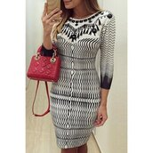 dress,black and white,trendy,hot,Elegant Women's Round Collar Zigzag 3/4 Sleeve Dress,fashion,sexy,fall outfits,rose wholesale-dec,style,long sleeves,winter outfits