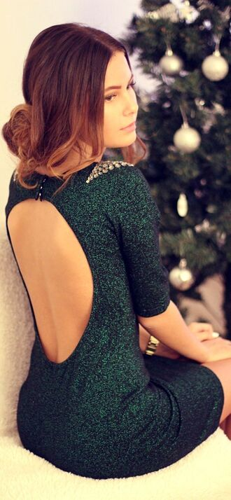 christmas holidays emerald sparkle back cut-out tree green glitter dress forest green glitter
