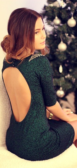cut-out christmas holiday emerald sparkle back tree green glitter dress forest green glitter